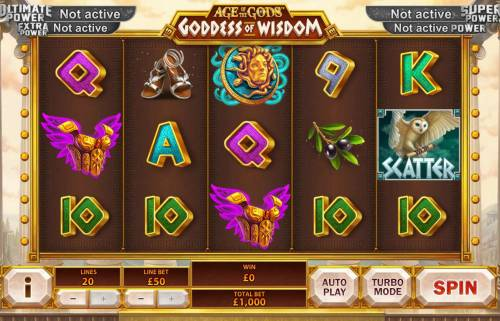Age of the Gods Goddess of Wisdom Review Slots Main game board featuring five reels and 20 paylines with a progressive jackpot max payout