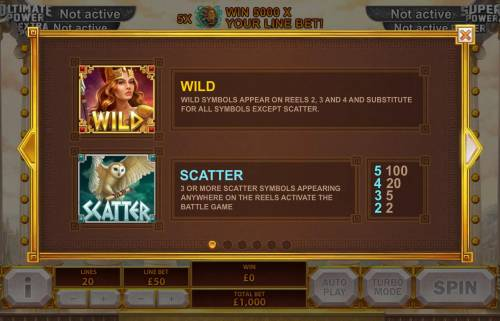 Age of the Gods Goddess of Wisdom Review Slots Goddess Wild symbols appear on reels 2, 3 and 4 and substitute for all symbols except scatter. 3 or more Owl Scatter symbols appearing anywhere on the reels activate the Battle Game.