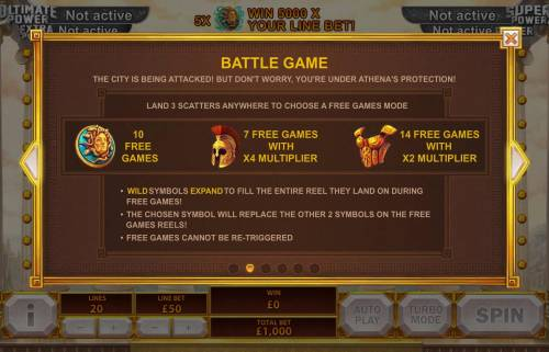 Age of the Gods Goddess of Wisdom Review Slots Battle Game - Land 3 scatters anywhere to choose from one of three Free Games Mode - 10 free games, 7 free games with x4 multipllier or 14 free games with x2 multiplier