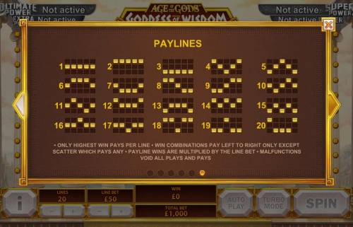 Age of the Gods Goddess of Wisdom Review Slots Payline Diagrams 1-20, Only highest win pays per line, Win combinations pay left to right only except scatter which pay any.