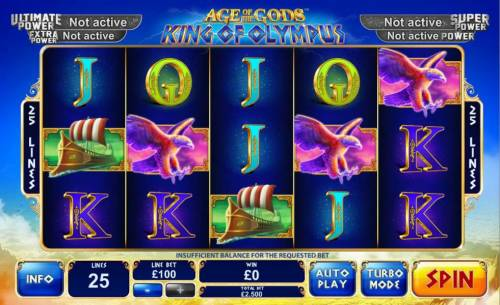 Age of the Gods King of Olympus Review Slots Main game board featuring five reels and 25 paylines with a progressive jackpot max payout