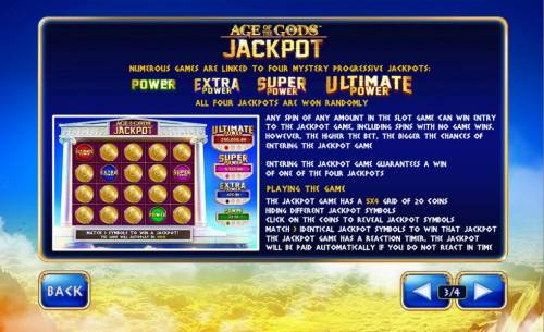 Age of the Gods King of Olympus Review Slots Numerous games are linked to four mystery progressive jackpots. All four jackpots are won randomly