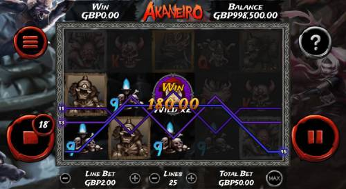 Akaneiro Review Slots Multiple winning paylines triggers a 180.00 big win with a 2x multiplier wild!