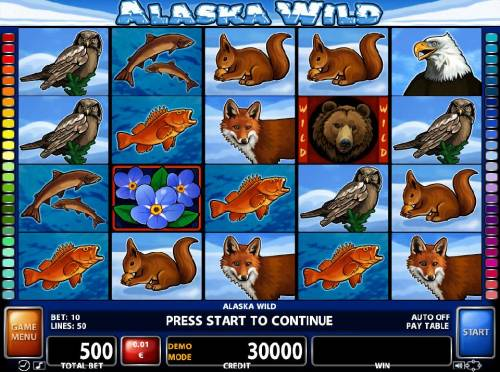 Alaska Wild Review Slots An Alaskan wilderness themed main game board featuring five reels and 50 paylines with a $10,000 max payout