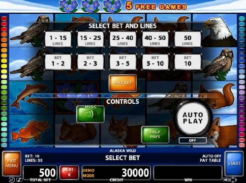 Alaska Wild Review Slots Select Bet and Lines - 1 to 50 Lines and 1 to 10 coins per line.
