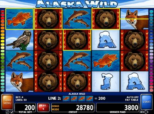 Alaska Wild Review Slots A 3800 credit big win triggered by multiple winning combinations.