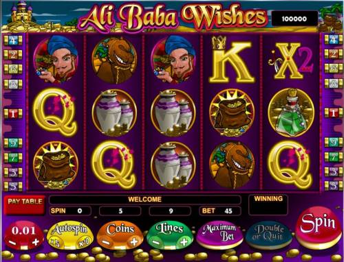 Ali Baba Wishes Review Slots an arabian themed video slot game featuring five reels and nine paylines