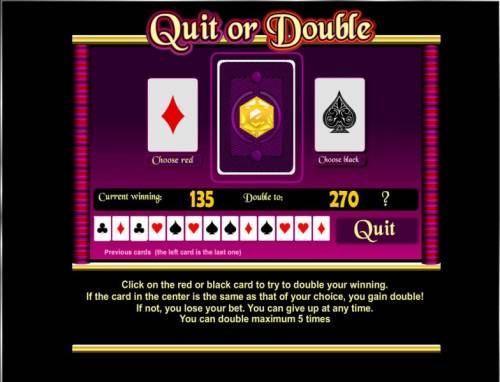 Ali Baba Wishes Review Slots quit or double game baord - select the color suit for achance to double your winnings