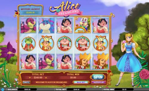 Alice in Dreamland Review Slots Main game board featuring five reels and 243 winning combinations with a $72,000 max payout
