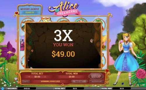 Alice in Dreamland Review Slots A 3x multiplier is awarded during the Spinning Wild feature.