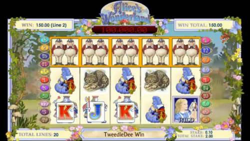 Alice's Wonderland Review Slots Tweedle Dee five of a kind 150 coin jackpot