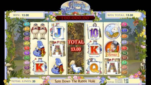 Alice's Wonderland Review Slots Alice falls down the rabbit hole and collects prizes along the way.