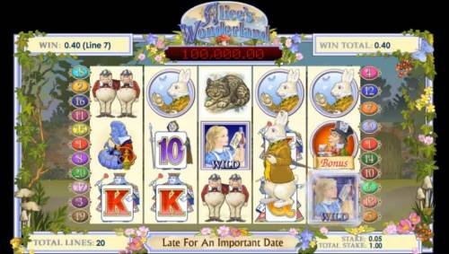 Alice's Wonderland Review Slots Rabbit hops across the reels randomly changing symbols into wilds.