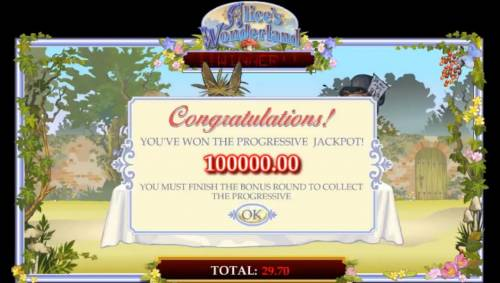 Alice's Wonderland Review Slots The Tea Party recap shows the total jackpot prize arwarded during the bonus feature