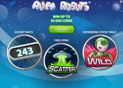 Alien Robots Review Slots game features - win up to 50000 coins, 243 bet ways, free spins and expanding sticky wild