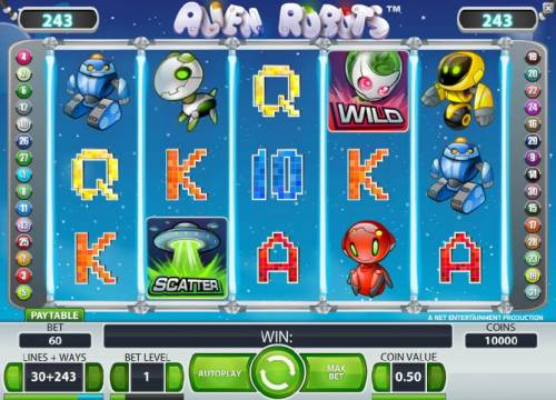 Alien Robots Review Slots main game board featuring five reels, 243 ways and a chance to win up to 50000 coins