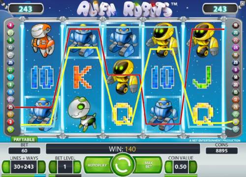 Alien Robots Review Slots multiple winning paylines triggers a 140 coin jackpot