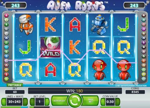 Alien Robots Review Slots three of a kind pays out a 180 coin jackpot