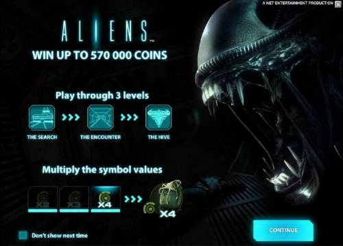 Aliens Review Slots win up to 570000 coins, play up to three levels