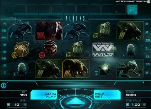 Aliens Review Slots main game board