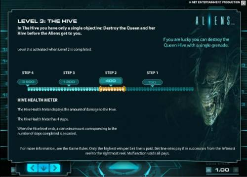 Aliens Review Slots level 3 the hive