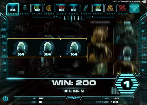 Aliens Review Slots bonus feature game board