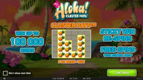 Aloha Cluster Pays Review Slots Cluster Pays - 9 or more=win. Win up to 100,000 coins. Sticky Re-Spins and Free Spins with symbol drop.