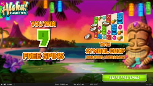 Aloha Cluster Pays Review Slots 9 free spins awarded with symbol drop, less fruit, more masks.