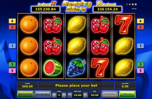 Amazing Stars Review Slots Main Game Board