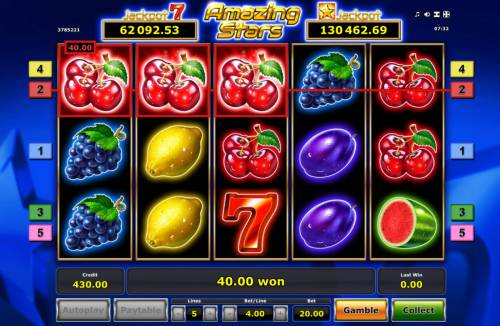 Amazing Stars Review Slots A winning three of a kind