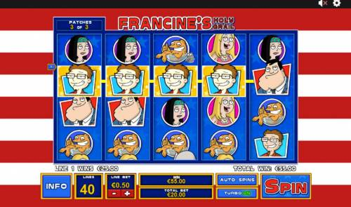 American Dad Review Slots Francines Holy Grail Feature triggers a pair of winning paylines