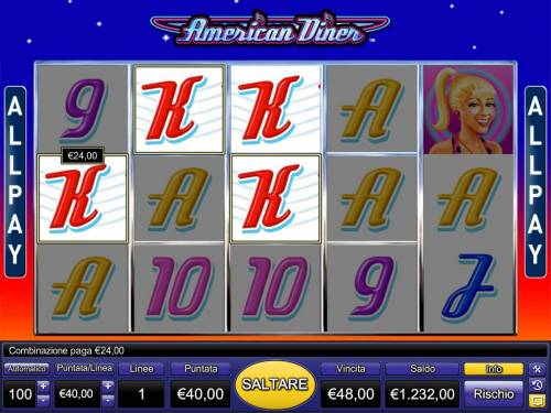 American Diner Review Slots A 1950s drive-in diner themed main game board featuring five reels and 243 wiining combinations with a $40,000 max payout