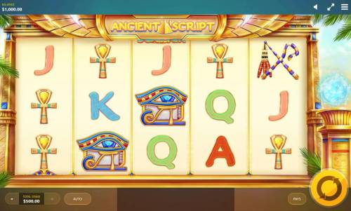 Ancient Script Review Slots Main game board featuring five reels and 10 paylines with a $10,000 max payout.