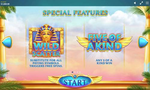 Ancient Script Review Slots King Tut is wild and substitutes for all symbols and triggers free spins.