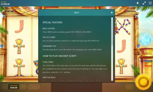 Ancient Script Review Slots Special features Rules