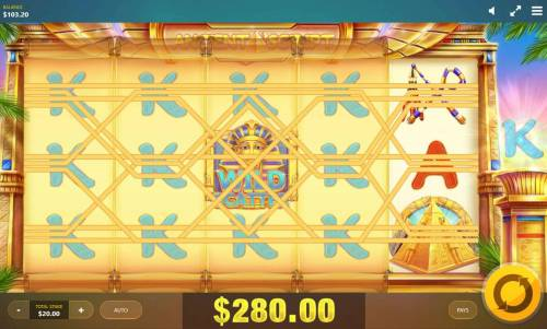 Ancient Script Review Slots Expanding Tiles feature files reels 1-4 with the King symbol producing a 280.00 jackpot award.