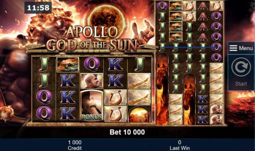 Apollo God of the Sun Review Slots Main game board featuring five reels and 100 paylines with a $50,000 max payout.