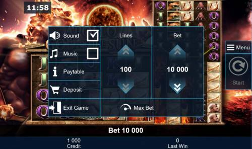 Apollo God of the Sun Review Slots Click on the side menu button to adjust the Lines played or Coin Size.
