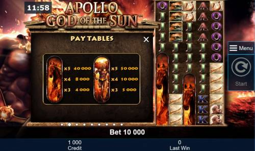 Apollo God of the Sun Review Slots High value slot game symbols paytable