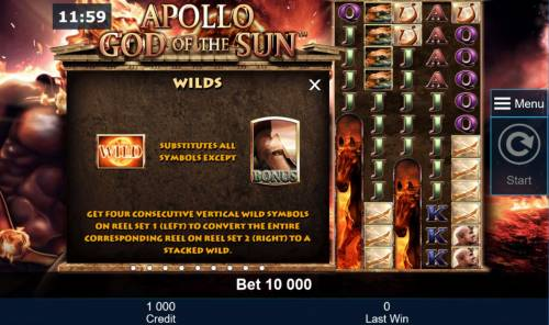 Apollo God of the Sun Review Slots Wild Symbol Rules