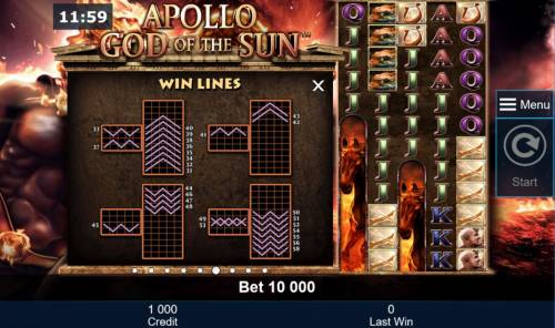 Apollo God of the Sun Review Slots Win Lines 31-58