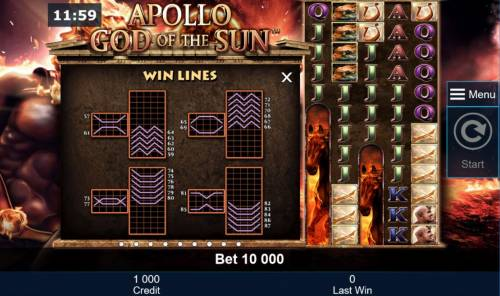 Apollo God of the Sun Review Slots Win Lines 57-87