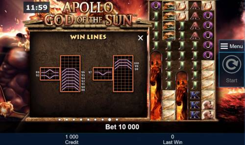 Apollo God of the Sun Review Slots Win Lines 88 to 100
