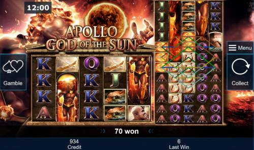 Apollo God of the Sun Review Slots Multiple winning paylines triggered on the 2nd reel set