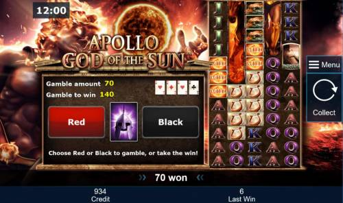Apollo God of the Sun Review Slots Gamble Feature - To gamble any win press Gamble then select Red or Black.