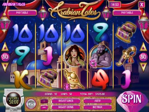 Arabian Tales Review Slots Main game board featuring five reels and 50 paylines with a 75,000x max payout