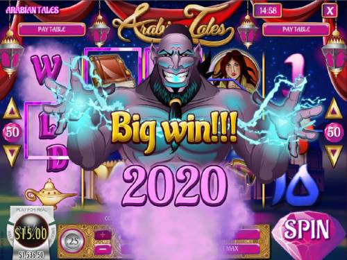 Arabian Tales Review Slots A 2,020 coin Big Win triggered by multiple winning combinations.
