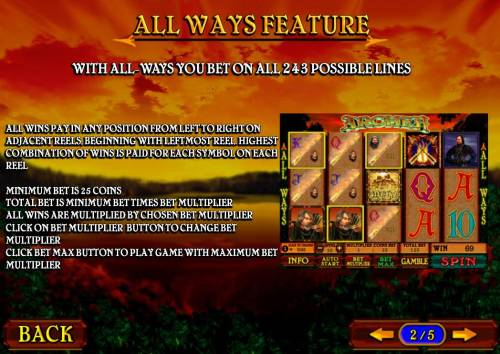 Archer Review Slots All Wyas Feature - With All-Ways you bet on all 243 possiblities. Minimum bet is 25 coins.