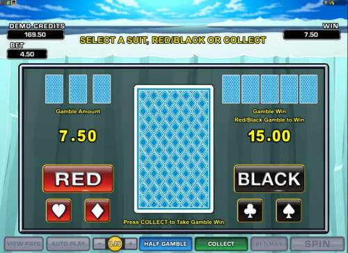 Arctic Agents Review Slots double-up gamble feature - select a suit, red/black or collect