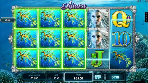 Ariana Review Slots Expanding symbols on reels 1, 2 and 3 triggers multiple winning paylines and a $625 big win!